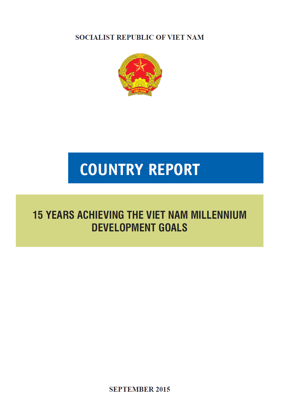Country Reports - 15 years Achieving the Viet Nam Millennium Development Goals