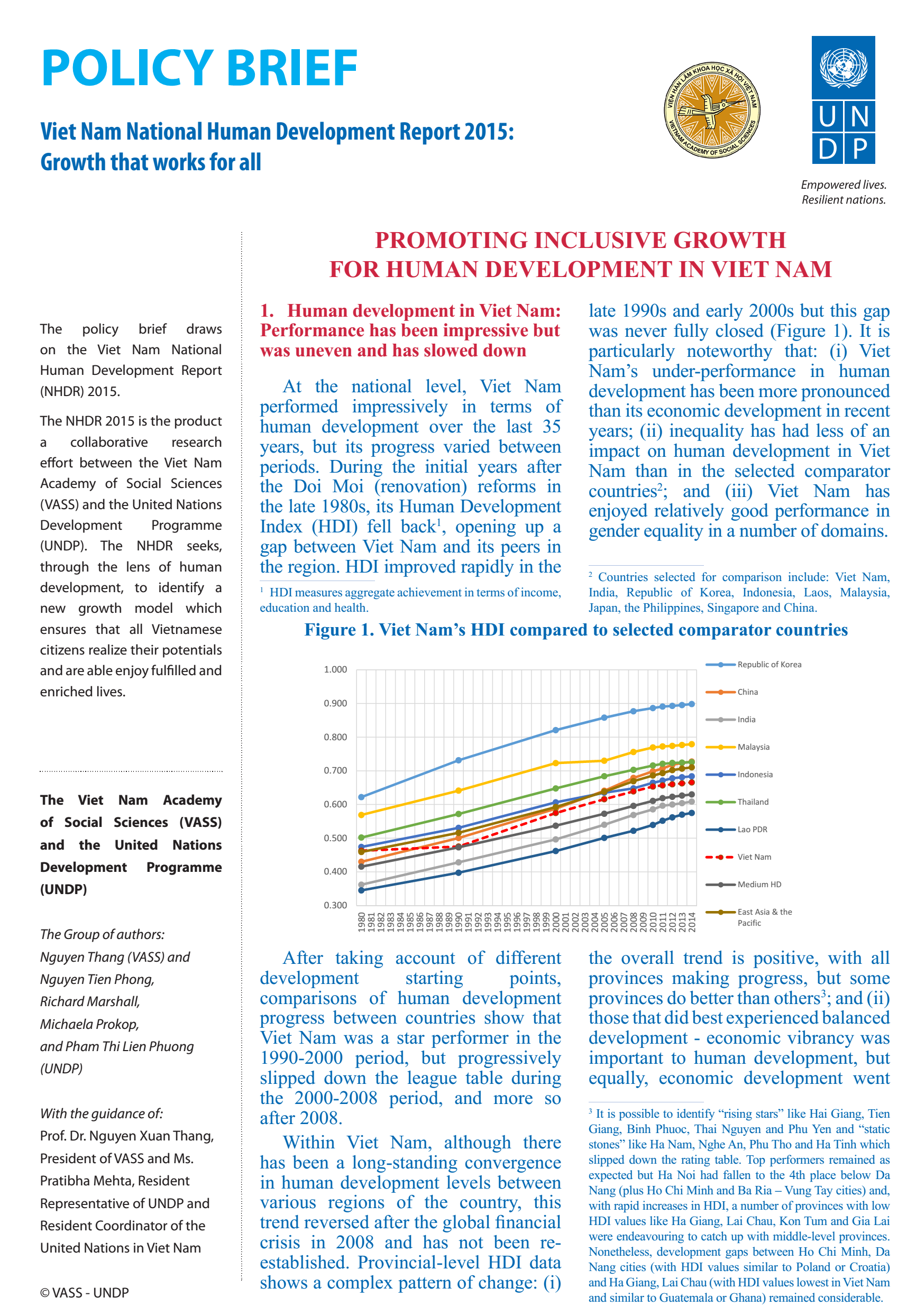 Policy Brief - Viet Nam National Human Development Report 2015 - Growth that works for all